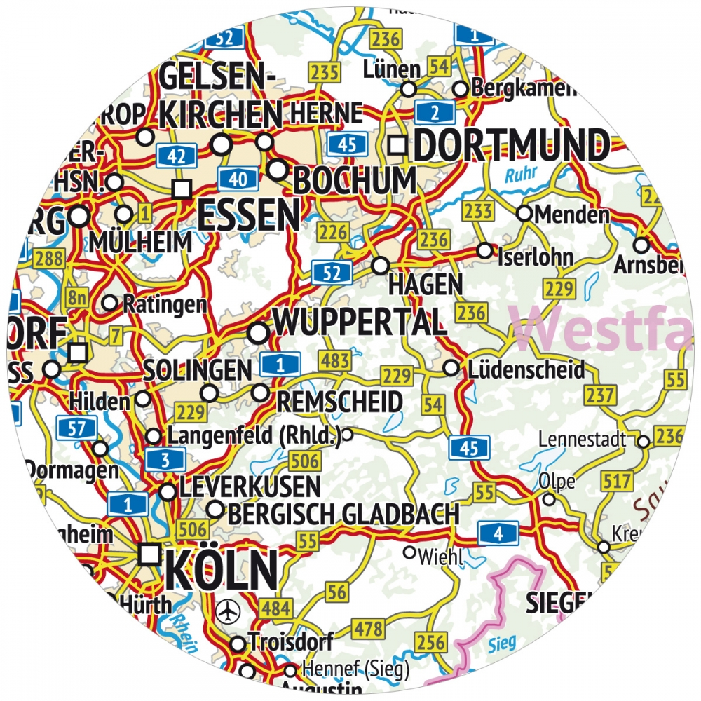 Topografische Deutschlandkarte Gefaltet Auf Din A4