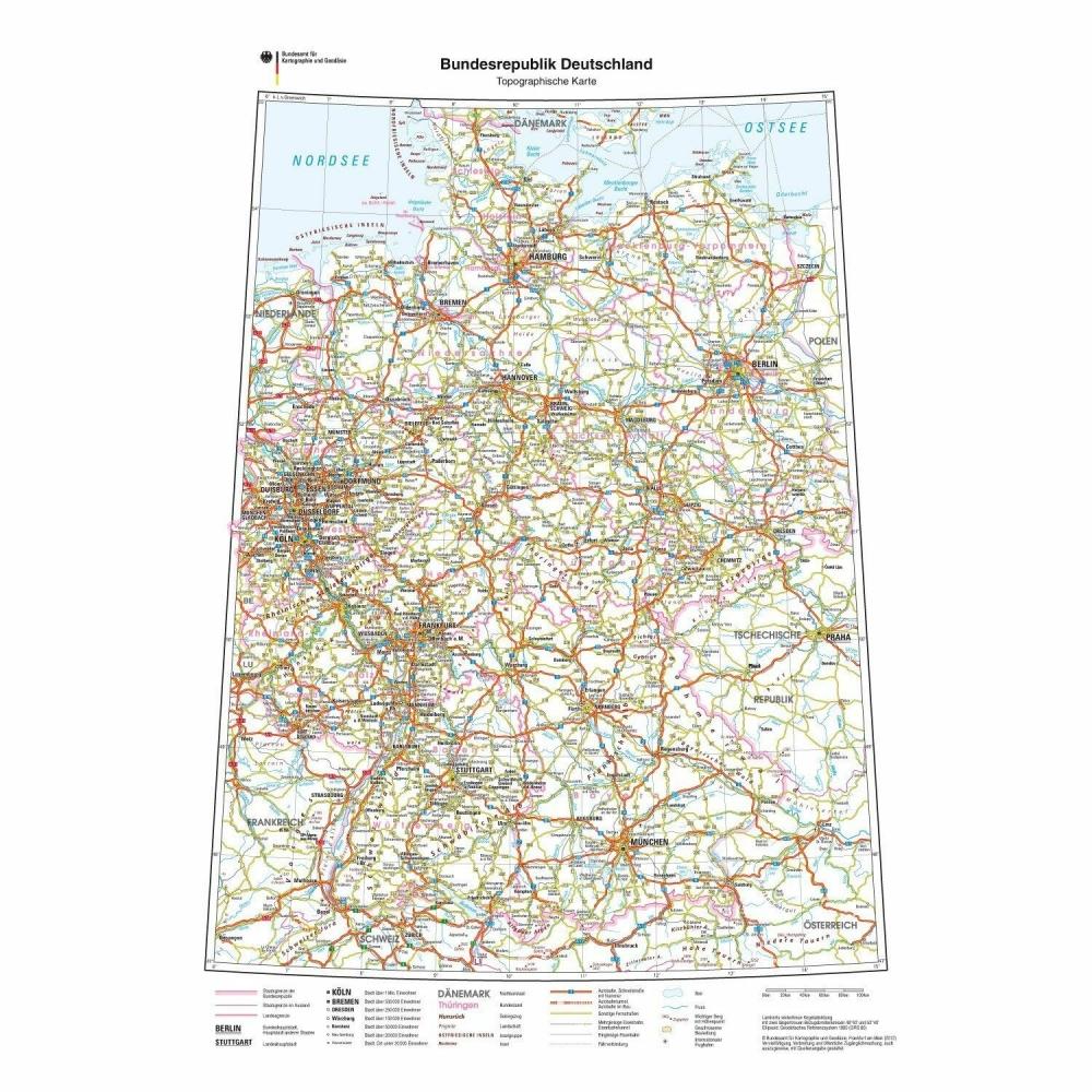 Format Din B1 1000 X 700 Mm Deutschlandkarte Drucksachenversand